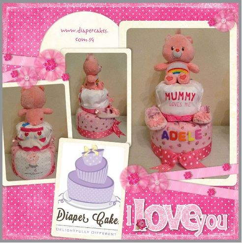 Baby Girl Mummy Loves You Diaper Cake
