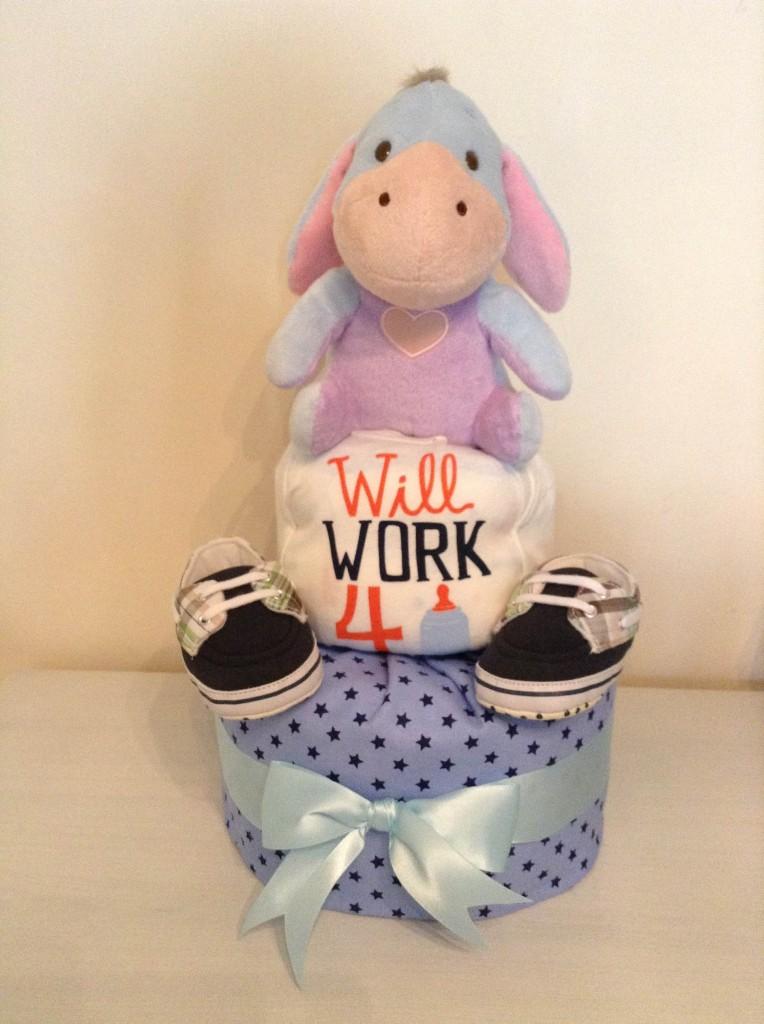 Eeyore Will Work For Milk Baby Boy Diaper Cake 1