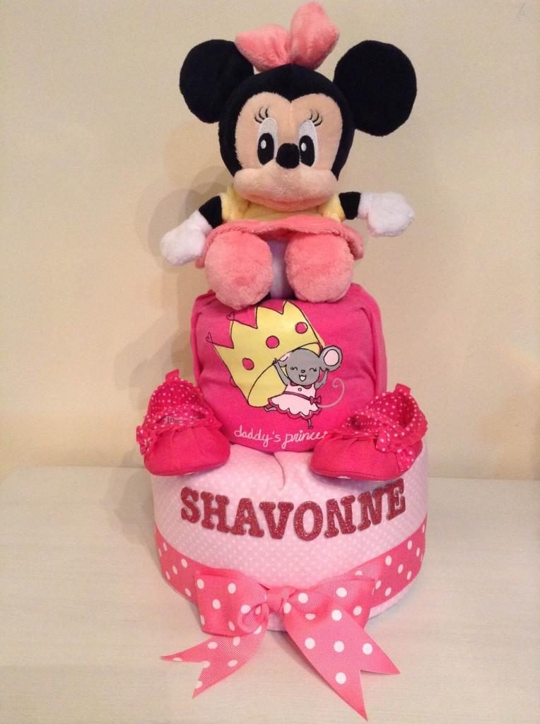 Minnie Shavonne Baby Girl Diaper Cake 1