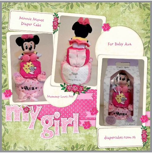 Minnie mouse Baby Girl Diaper Cake Baby Gift