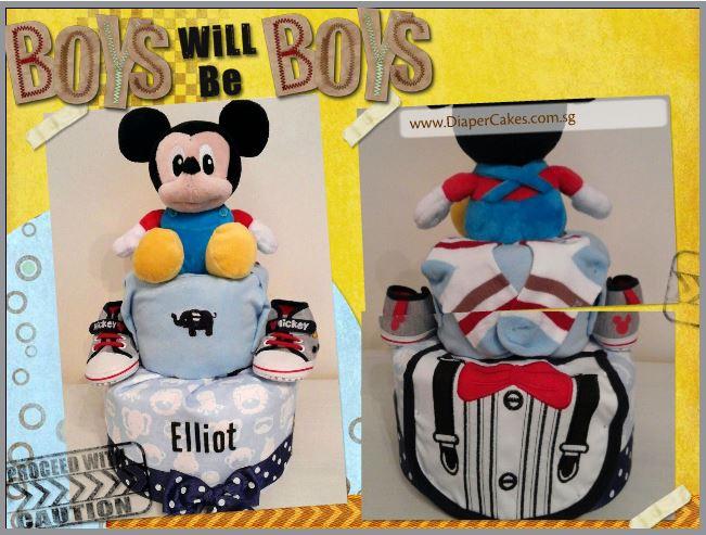 Mickey Baby Boy Elliot Diaper Cake