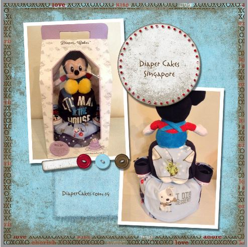 Diaper Cake Baby Gift Two Tier Boy