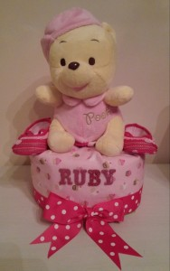 Single Tier Diaper Cake Baby Girl Ruby 1
