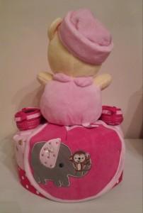 Single Tier Diaper Cake Baby Girl Ruby 2