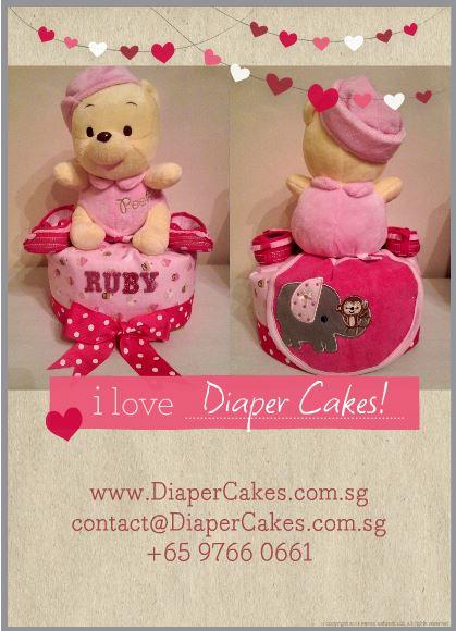 Single Tier Diaper Cake Baby Girl Ruby 5