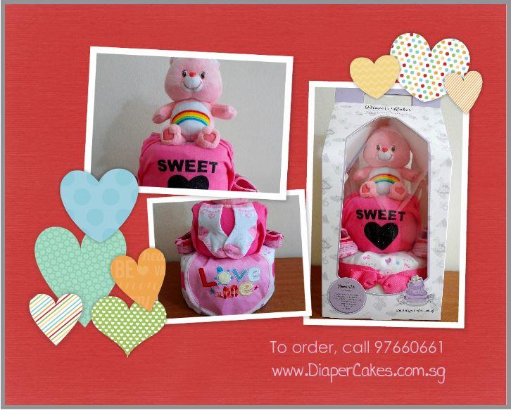 Sweet Heart Baby Girl Care Bear Diaper Cake