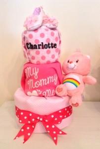Three Tier Charlotte Baby Girl Diaper Cake 1