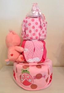 Three Tier Charlotte Baby Girl Diaper Cake 2