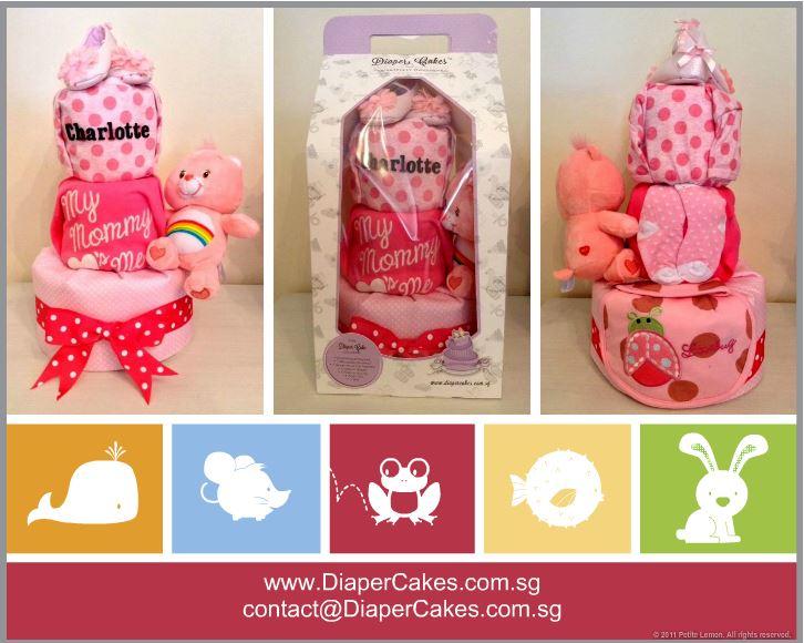 Three Tier Charlotte Baby Girl Diaper Cake 4