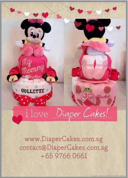 Two Tier Minnie Diaper Cake Collette 3