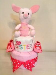 2 Tier Piglet Baby Girl Diaper Cake 1