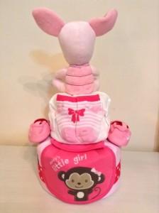 2 Tier Piglet Baby Girl Diaper Cake 2