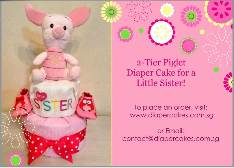 2 Tier Piglet Baby Girl Diaper Cake 3