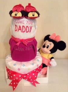 3 Tier Minnie Mouse Baby Girl Diaper Cake 1