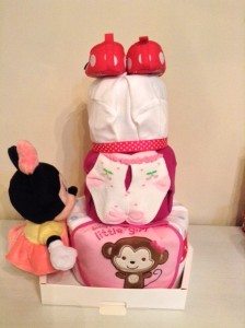 3 Tier Minnie Mouse Baby Girl Diaper Cake 2