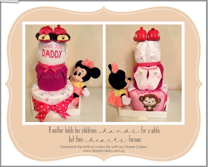 3 Tier Minnie Mouse Baby Girl Diaper Cake 6