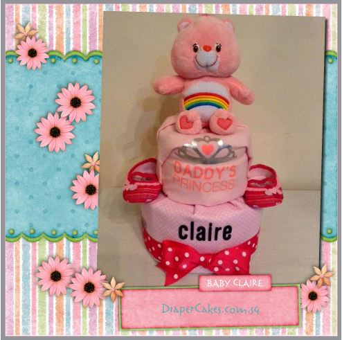 Claire Baby Girl 2 Tier Diapercake 3