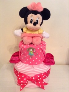 Minnie Mouse Baby Girl 2 Tier Diaper Cake 1
