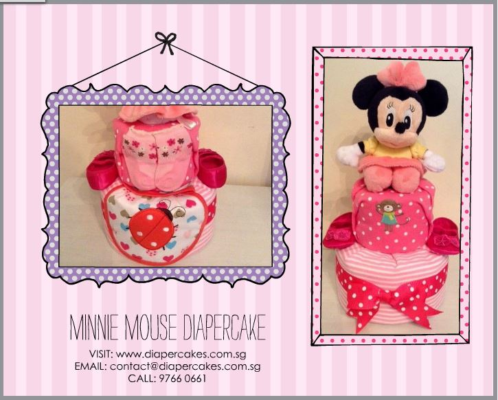 Minnie Mouse Baby Girl 2 Tier Diaper Cake 5