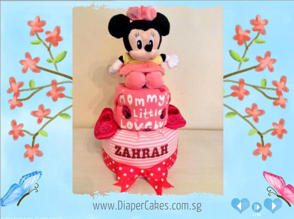 Zahrah Baby Girl Minnie Mouse Creative Diaper Cake Singapore 5