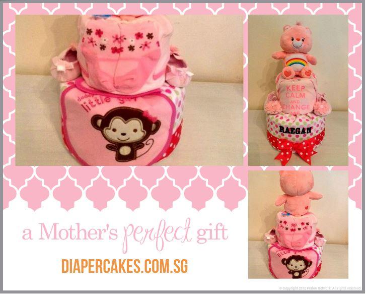 2 Tier Care Bear Baby Girl Raegan Diaper Cake Baby Gift 3