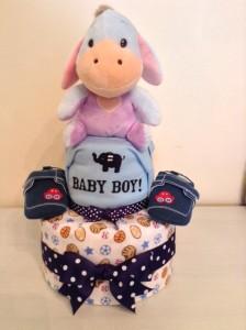 2 Tier Eeyore Baby Boy Diaper Cake 1