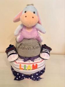 2 Tier Eeyore Baby Boy Liam Diaper Cake 3