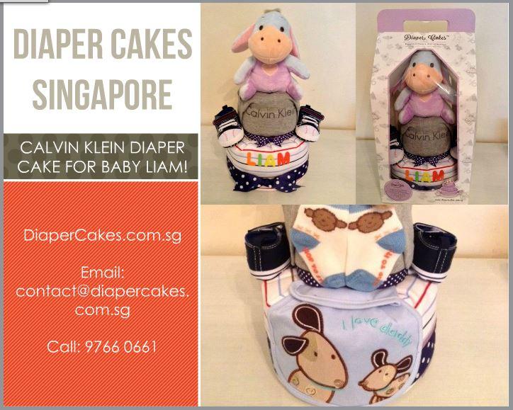 2 Tier Eeyore Baby Boy Liam Diaper Cake 5