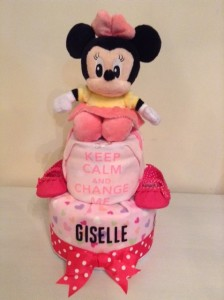 2 Tier Minnie Diaper Cake Baby Gift Giselle 1