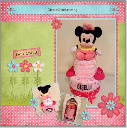 2 Tier Minnie Diaper Cake Baby Gift Giselle 5