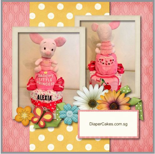 2 Tier Piglet Alexia Diaper Cake Baby Gift 5