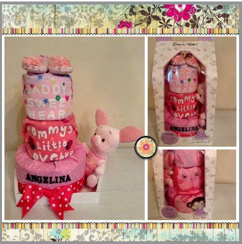 3 Tier Diaper Cake Baby Gift Hamper Angelina 5