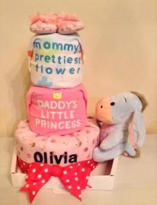 Baby Gift 3 Tier Diaper Cake Girl Olivia 1