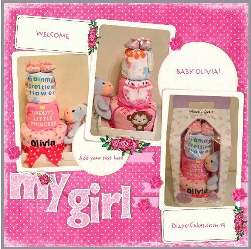 Baby Gift 3 Tier Diaper Cake Girl Olivia 5