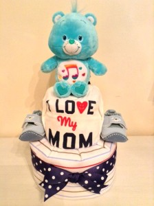 Music Care Bear Baby Boy Diaper Cake Unique Baby Gift 1