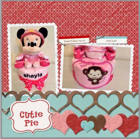One Tier DIaper Cake Baby Gift Girl Shayla 3