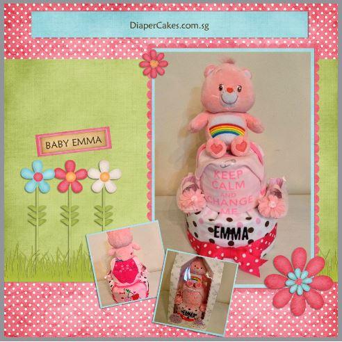 Rainbow Care Bear Diaper Cake Baby Gift Girl Emma 5
