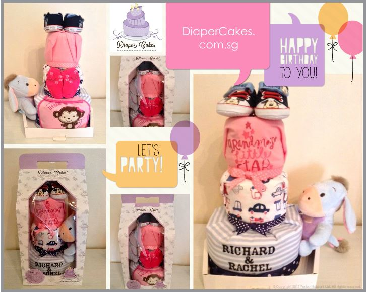 Richard and Rachel Twin Diaper Cakes Baby Gift 5