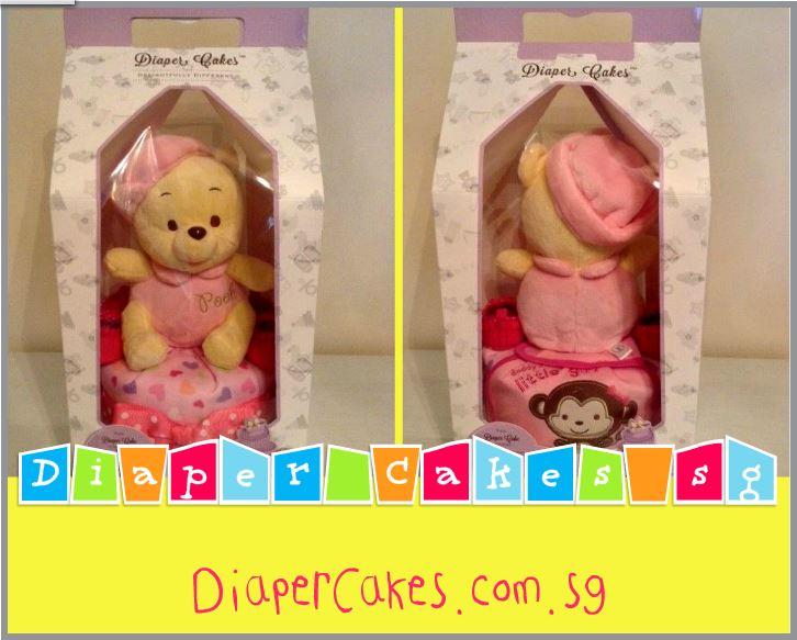 Single Tier Pooh Baby Girl Baby Gift Diaper Cake 3