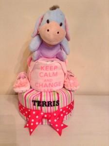 2 Tier Eeyore Baby Gift Diaper Cake Girl Terris 1