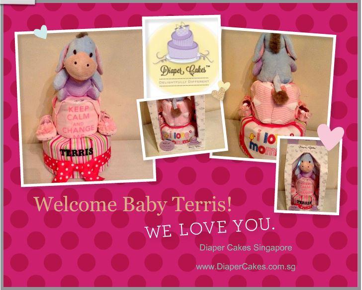 2 Tier Eeyore Baby Gift Diaper Cake Girl Terris 5