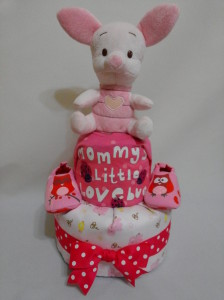 2 Tier -DiaperCakesSingapore-BabyGifts-Piglet-Girl 1