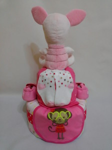 2 Tier -DiaperCakesSingapore-BabyGifts-Piglet-Girl 2