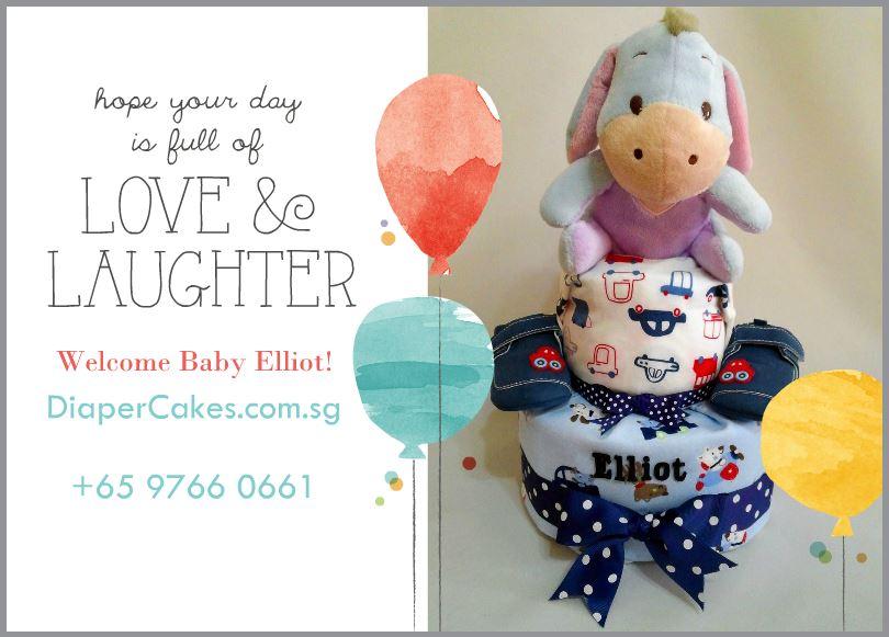 2-Tier- Eeyore-Diaper Cake-Baby Gifts Singapore- Boy-Elliot-5