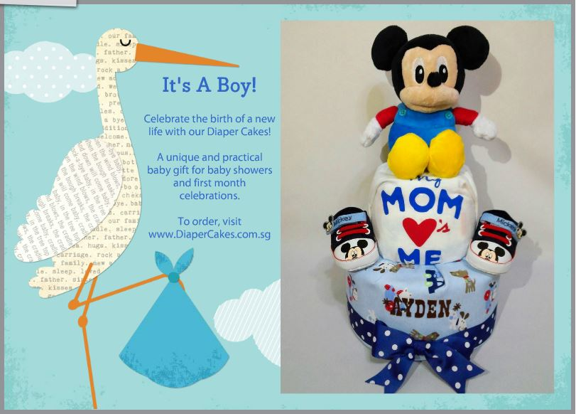 2-Tier- MickeyMouse-Diaper Cake-Baby Gifts Singapore- Boy 9