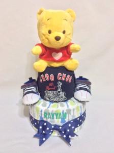 2-Tier- Winnie-The-Pooh-Diaper Cake-Baby Gifts Singapore- Boy-Rayyan-1