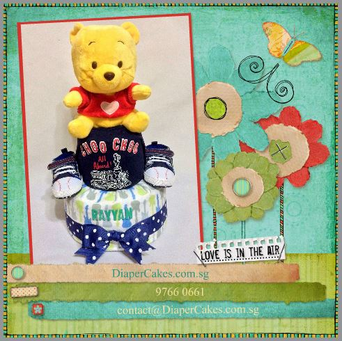 2-Tier- Winnie-The-Pooh-Diaper Cake-Baby Gifts Singapore- Boy-Rayyan-5