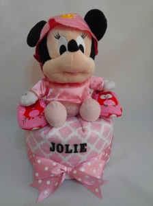 1 Tier -DiaperCakesSingapore-BabyGifts-MinnieMouse-Girl-Jolie-1