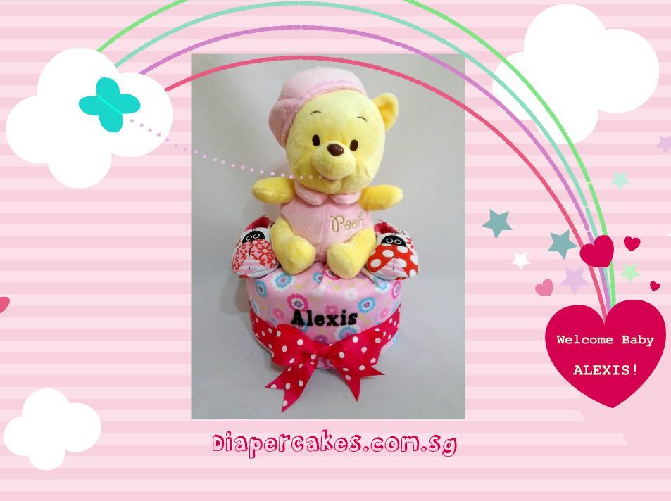 1 Tier -DiaperCakesSingapore-BabyGifts-WinnieThePooh-Girl-5