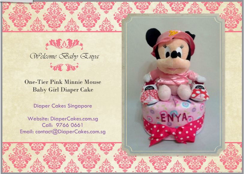 1-Tier-Minnie-Mouse-Diaper Cake-Baby Gifts Singapore- Girl-Enya-3